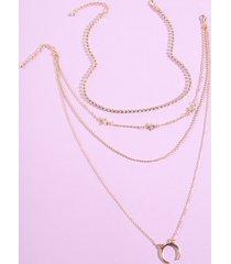 collar multicapa con decoración de diamantes de imitación de estrella y luna dorada de 2 piezas