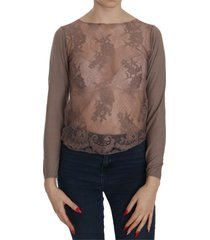 lace see through long sleeve top