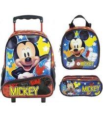 kit mochila xeryus mickey mouse de rodinhas com lancheira e estojo