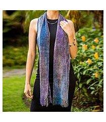 rayon chenille scarf, 'highland jacaranda' (guatemala)