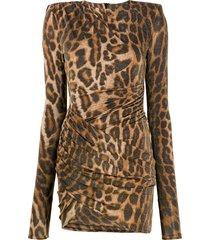alexandre vauthier leopard-print structured dress - brown