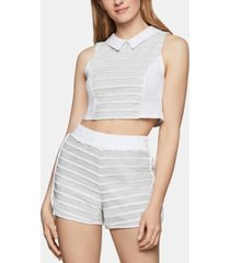 bcbgeneration cotton mixed-media cropped top