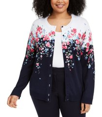 karen scott corsage printed button cardigan, created for macy's