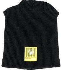 brumal padded logo embroidered beanie hat - black