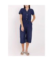 macacão jeans pantacourt feminino azul