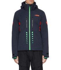 'hero aile' contrast stripe hooded ski jacket