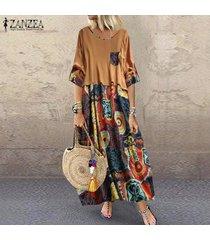 zanzea vestido sin mangas de verano para mujer camisa larga tops blusa vestido de camisa vestido a media pierna -caqui