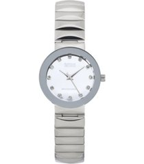 american exchange ladies genuine diamond collection shiny silver watch, 28mm