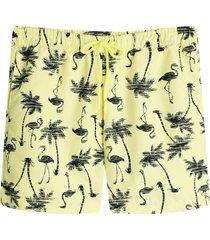 pantaloneta baño palmeras color amarillo, talla l