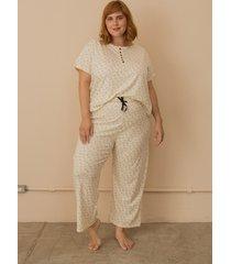 pijama algodã£o com botãµes plus size bege-50/52 - bege - feminino - dafiti