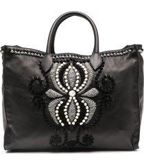 ermanno scervino embroidered leather tote bag - black