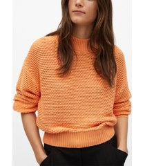 mango embossed contrasting knit sweater