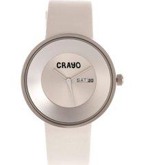 crayo unisex button white genuine leather strap watch 40mm
