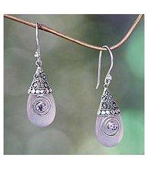 rose quartz dangle earrings, 'mount bromo dawn' (indonesia)