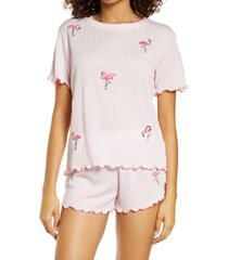 women's emerson road women's relaxed fit short pajamas, size x-small - pink