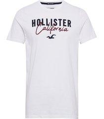 core tech logo t-shirts short-sleeved vit hollister