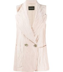 emporio armani peak-lapel double breasted crinkle gilet - neutrals