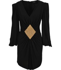 balmain bead-embellished gathered dress