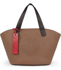 bolso shopping grande leissa de piel en color marrón 095900660