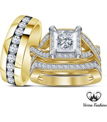 infinity engagement ring wedding band trio set 18k yellow gold plated 925 silver