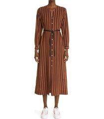 women's wales bonner kingston stripe long sleeve caftan dress, size 8-10 us - brown