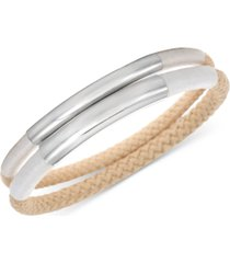 alfani silver-tone 2-pc. set curved bar & braided rope bangle bracelets, created for macy's