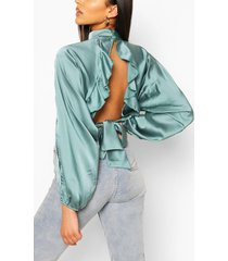 satijnen blouse met open achterkant en ruches, turquoise