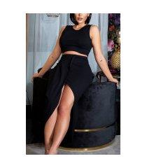 sexy set lange rok met twist detail + cropped top zwart