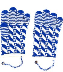 bode intarsia-knit merino wool gloves - blue