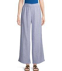 pinstriped linen wide-leg pants
