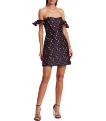 monique lhuillier women's off-the-shoulder jacquard mini dress - navy multi - size 12