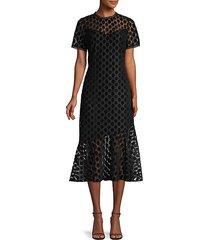 geometric velvet lace dress