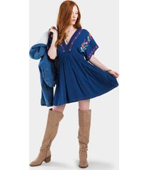 breely embroidered dress - navy