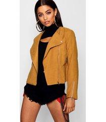 lightweight brushed biker jacket, tan