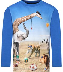 molo blue reif t-shirt fro boy with animals