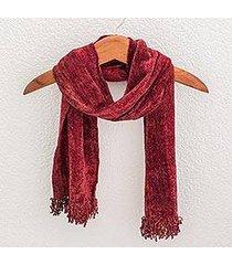 cotton blend scarf, 'scarlet dreamer' (guatemala)
