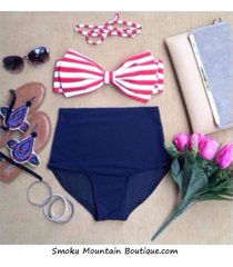 sexy stripes bow retro high waist swimsuits (white and red top and blue bottom)
