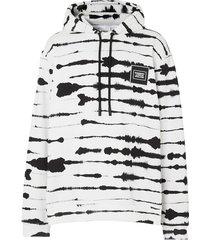 logo print cotton watercolor print hoodie