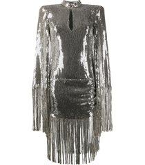 balmain sequinned fringe-trimmed dress - grey