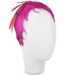 nana' designer women's hats, bettina - fuchsia feather headband