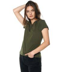 camiseta con botones de mujer-verde militar polovers