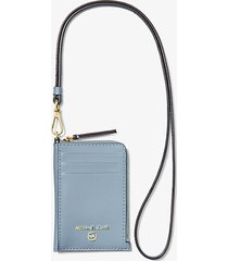 mk custodia jet set piccola in pelle per documento - blu pallido (blu) - michael kors