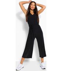 lange broekrok-jumpsuit van zachte rib met knoopceintuur, zwart