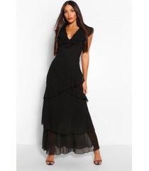 lang geweven gebloemde maxi-jurk met v-hals en ruches, zwart