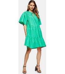 green poplin smock mini dress - green
