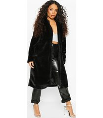 petite longline super soft faux fur coat, black