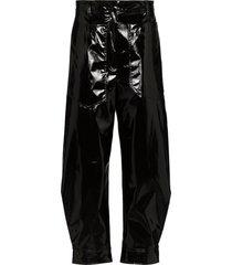 tibi patent tapered trousers - black