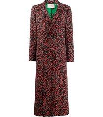 la doublej leopard print duster coat - red