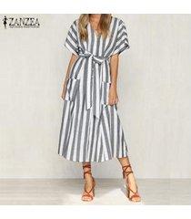 zanzea mujeres botón casual con cuello en v vestido de la camisa hasta vestido de tirantes larga a rayas midi -gris