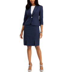 le suit petite shawl-collar dot skirt suit